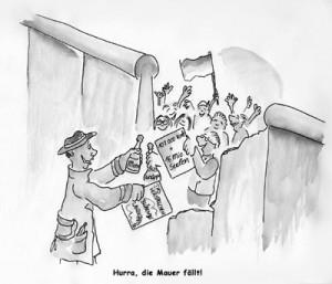 Karikatur Mauerfall